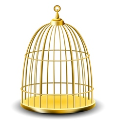 Golden bird cage vector