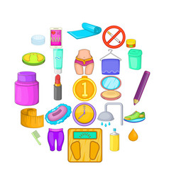 greasepaint icons set cartoon style vector image