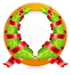 green wreaths in round vector image