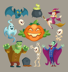 Halloween characters october holiday vector
