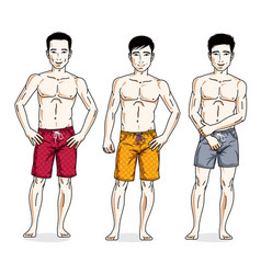 Handsome men posing in colorful beach shorts vector