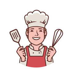 Happy chef logo cooking restaurant food symbol vector