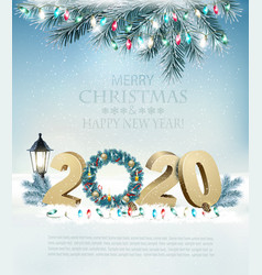 happy new year 2020 background with garland and vector image