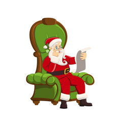 happy santa claus sitting armchair white vector image