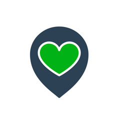 heart with location mark love direction colored vector image