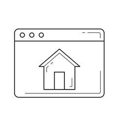 home window line icon vector image