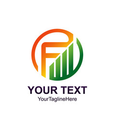 initial letter f logo template colorful circle vector image