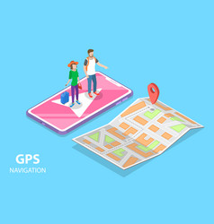 isometric flat concept mobile pgs vector image