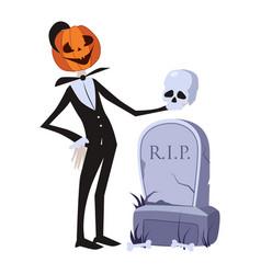 Jack o lantern near grave halloween vector