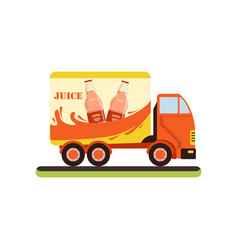 Juice truck fast delivering of fresh fruit juice vector