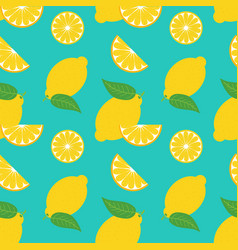 Lemons and leaves summer seamless pattern vector