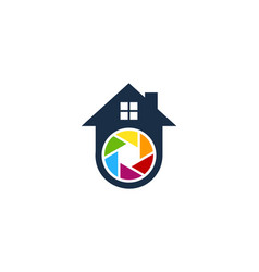 Lens house logo icon design vector