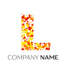 letter l logo with orange yellow red particles vector image