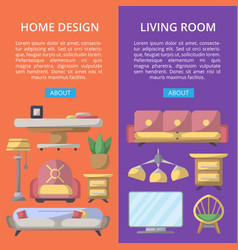 Living room design poster set vector