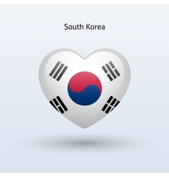 Love South Korea symbol Heart flag icon vector image