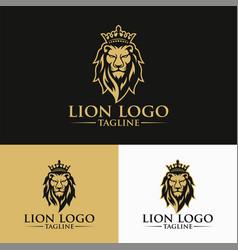 Luxury lion king logo image vector