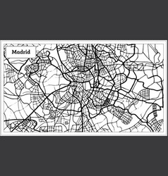Madrid spain map in black and white color vector