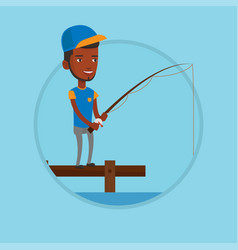 man fishing on jetty vector image