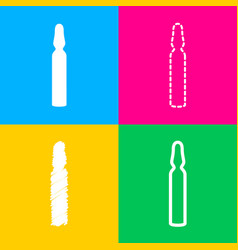 medical ampoule sign four styles of icon on four vector image