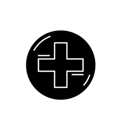 medical cross black icon sign on isolated vector image
