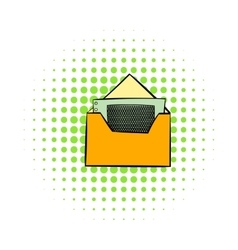 Money in envelope icon comics style vector image