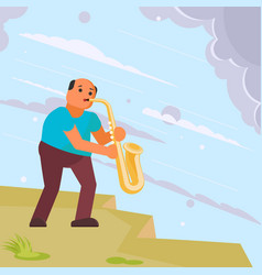 musician playing saxophone in street vector image