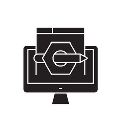 online contract black concept icon online vector image