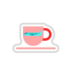 Paper sticker on white background plane cup vector