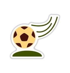 Paper sticker on white background soccer ball vector