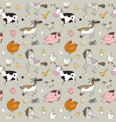 pattern with farm animals cute cartoon horse cow vector image