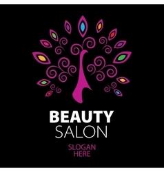 Peacock logo for beauty salon vector
