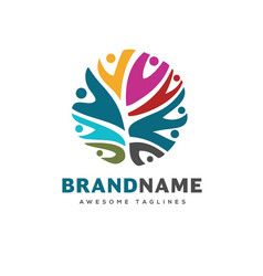 People community colorful logo template vector
