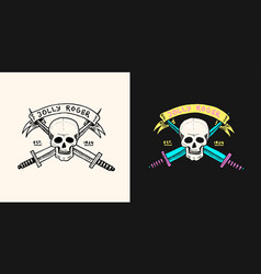 pirate skull on background daggers vector image