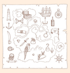 pirate symbols ancient old map treasures vector image