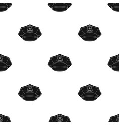 Police cap icon in black style isolated on white vector