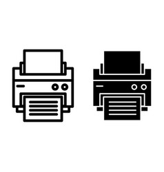 Printer line and glyph icon printout vector