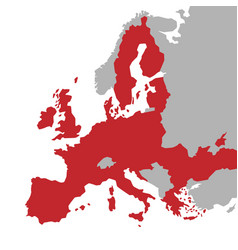 red map european union with extra ue vector image