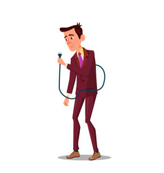Sad tired businessman holding power cord in hand vector