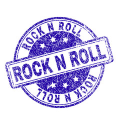 Scratched textured rock n roll stamp seal vector