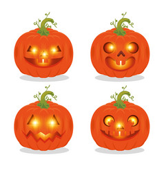 set of happy halloween pumpkins vector image