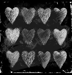 Set of hearts hand drawn in chalk on a blackboard vector
