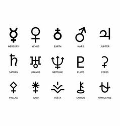 set planets symbols vector image