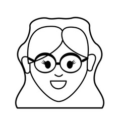 silhouette happy face woman with glasses and vector image