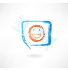Smile in speech bubble grunge icon vector image