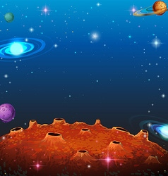 Space scene with many planets vector