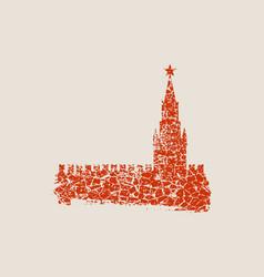 spasskaya tower of kremlin in moscow vector image