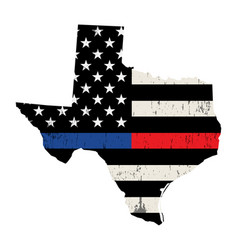 state texas police and firefighter support flag vector image