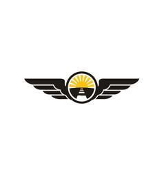 street road sun wings for travel transport logo vector image