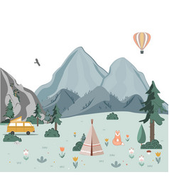 summer camping landscape morning in mountains vector image
