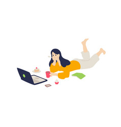 the girl is lying on floor with a laptop vector image